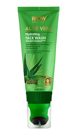 WOW Skin Science Aloe Vera Hydrating Face Wash Tube with Brush