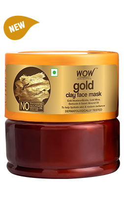WOW Skin Science Gold Clay Face Mask which fade scars and remove dullness.