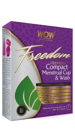 WOW Skin Science Freedom Reusable Menstrual Cup And Wash Post Childbirth - Large (Above 30 Years)